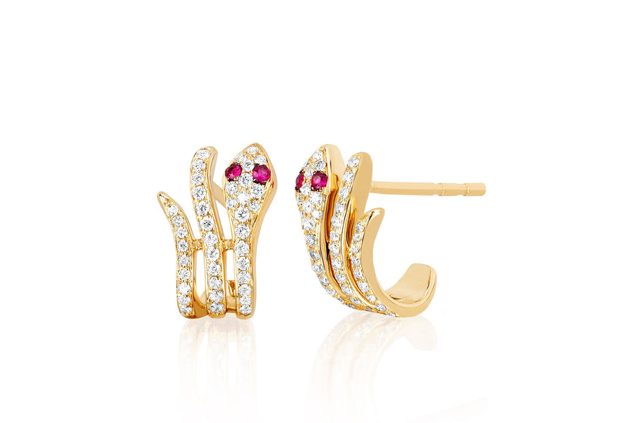 Diamond Snake Earring with Ruby Eyes - Jo Latham