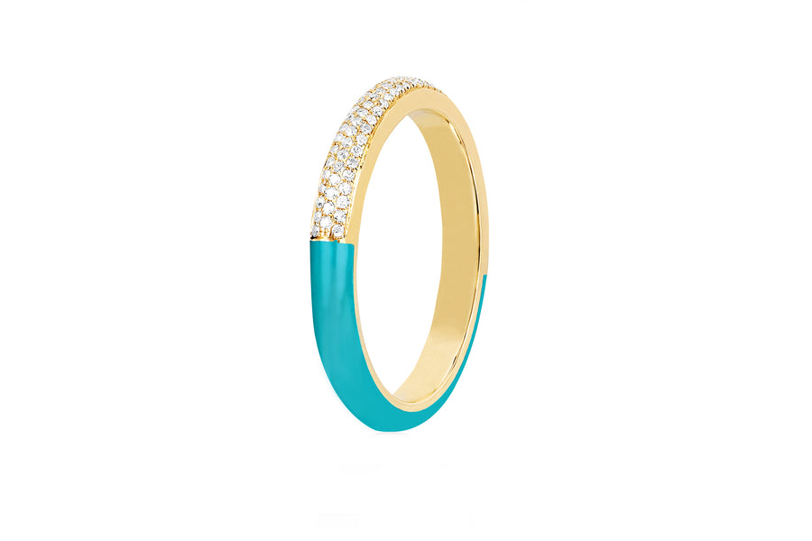Two Tone Diamond and Turquoise Enamel Ring - Jo Latham