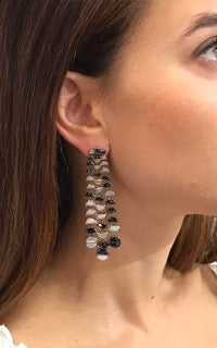 Large Reptile Opal and Black Spinel Earrings - Jo Latham