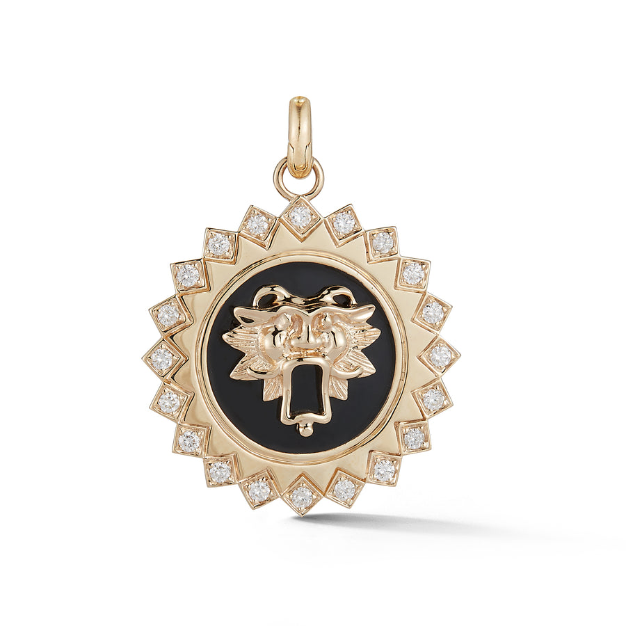 Guardian Lion Medallion Charm - Black Enamel - Jo Latham