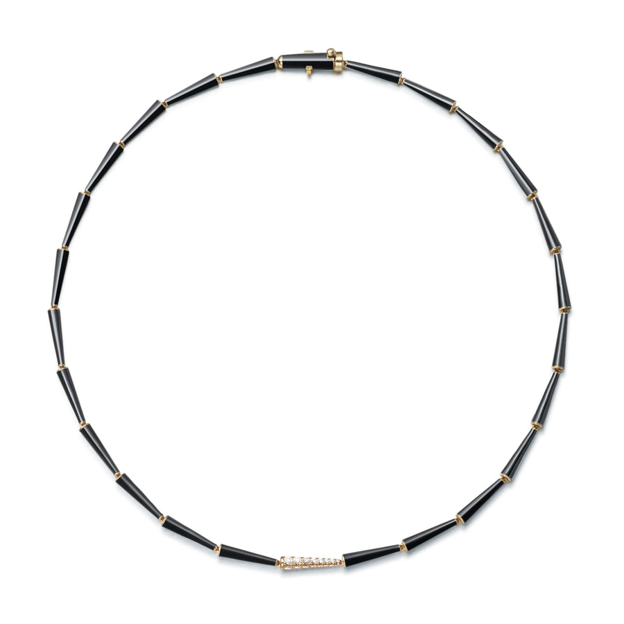 Lola Linked Necklace Black Enamel - Jo Latham