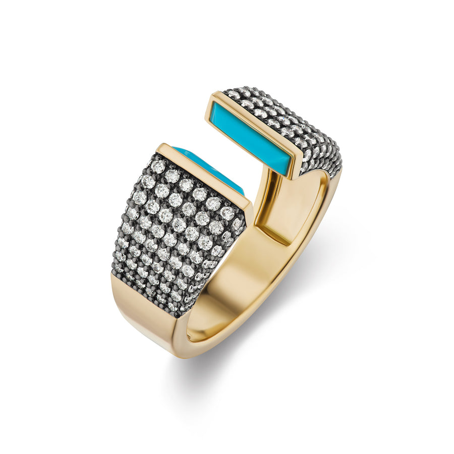 Double Wide Open Pave Band - Turquoise - Jo Latham
