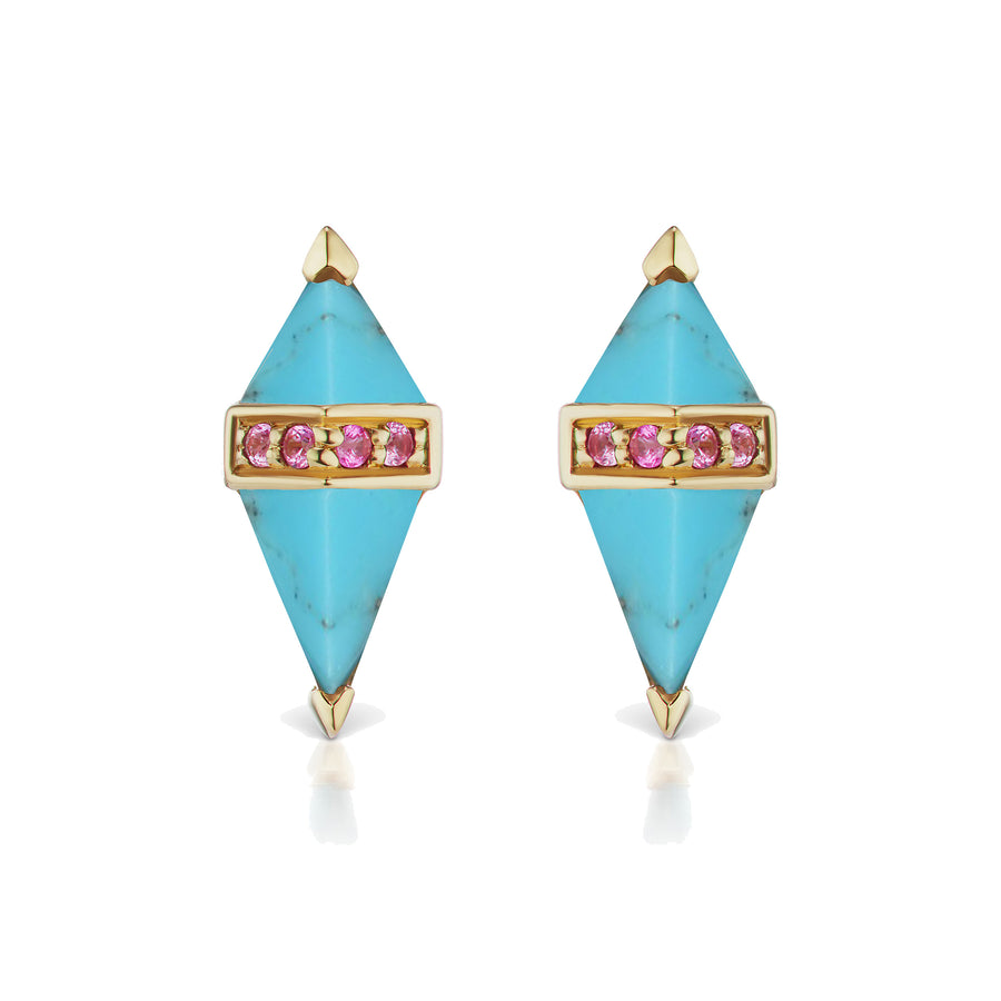 Pietra Stud - Turquoise and Pink Sapphire (Pair) - Jo Latham