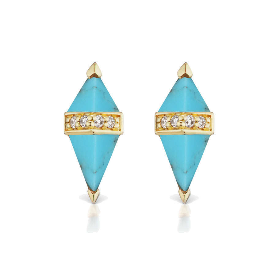 Pietra Stud - Turquoise and White Diamond - Jo Latham