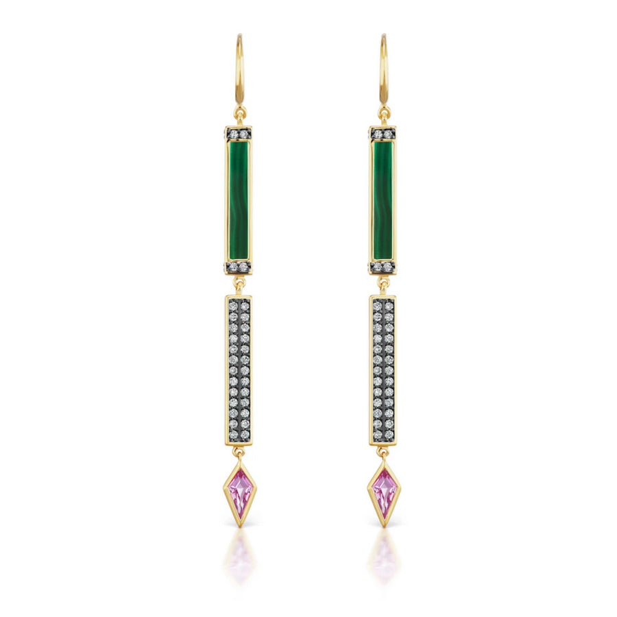 Pave Stone Bar Stick Earring (Pair) - Jo Latham