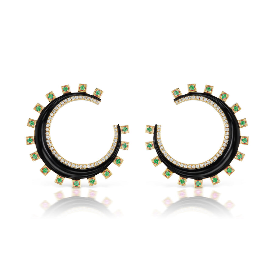 Monroe Black Onyx and Emerald Crescent Earring - Jo Latham