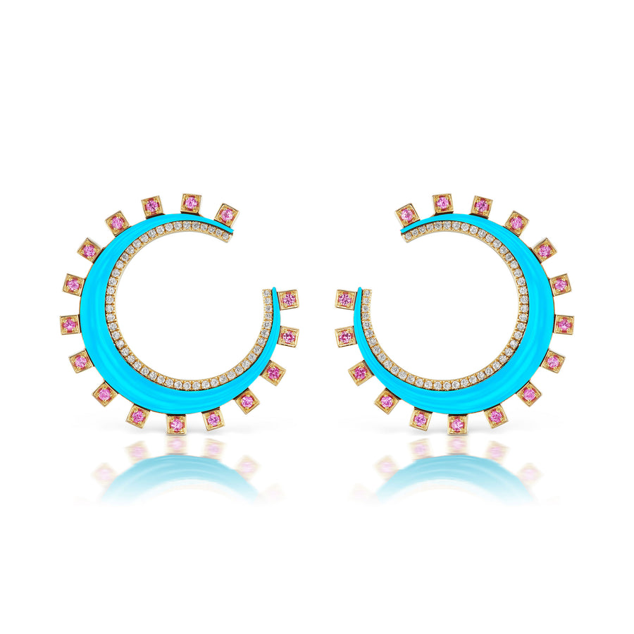 Monroe Turquoise and Pink Sapphire Crescent Earring - Jo Latham