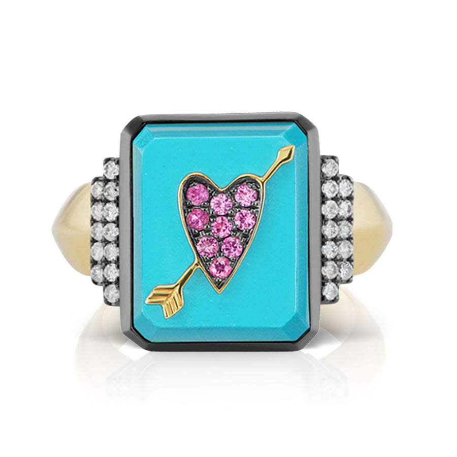 Heart and Arrow Custom Signet Ring - Turquoise - Jo Latham