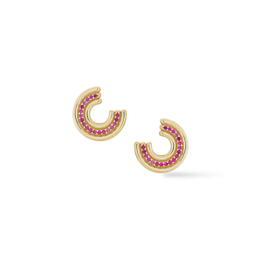 Revival Midi Studs - Pink Sapphire