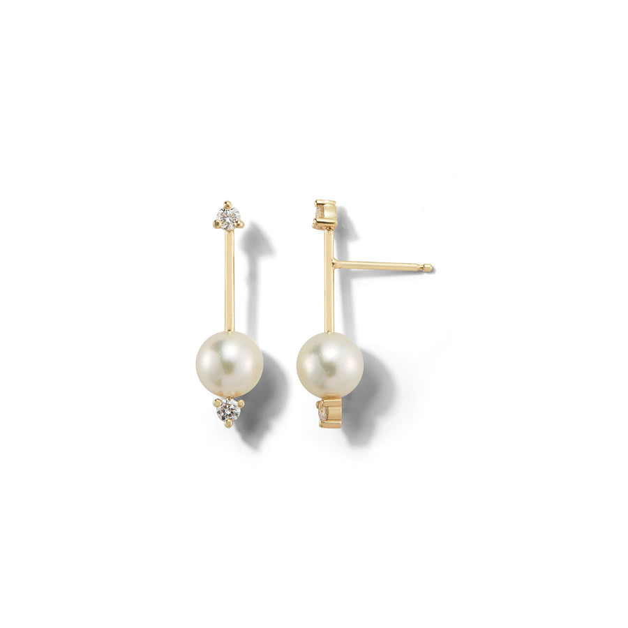 Small Pearl and Diamond Drop Earring - Jo Latham