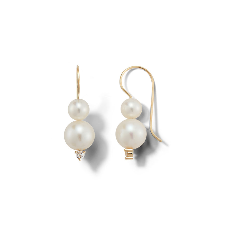 Double Pearl and Diamond Earring
