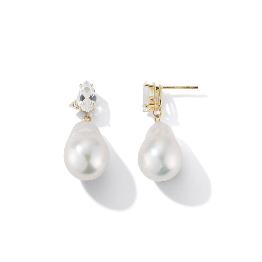 Baroque Pearl Topaz and Diamond  Drop Earring