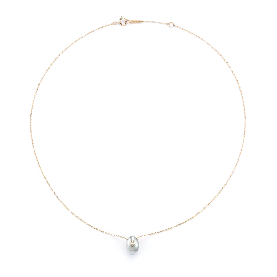 Diamond Pearl Solitaire Necklace - Jo Latham