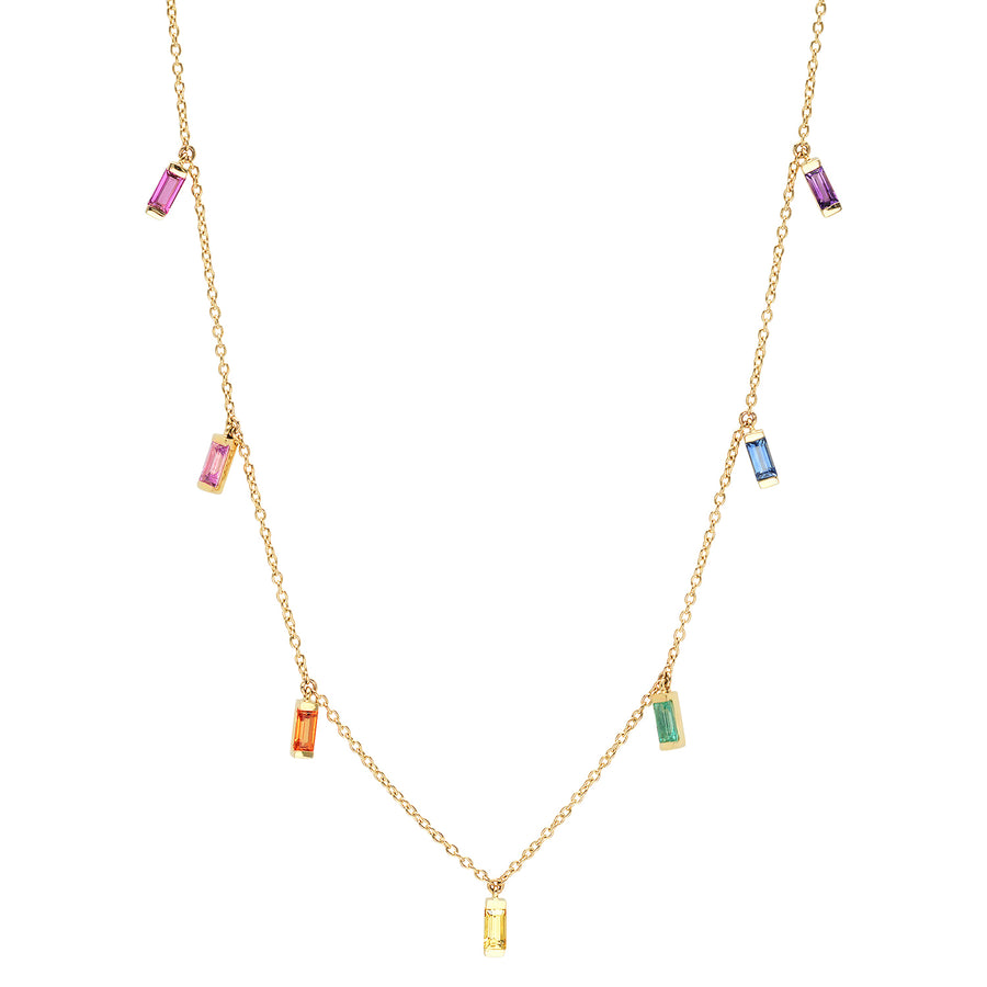 Baguette Fringe Necklace - Multicolor