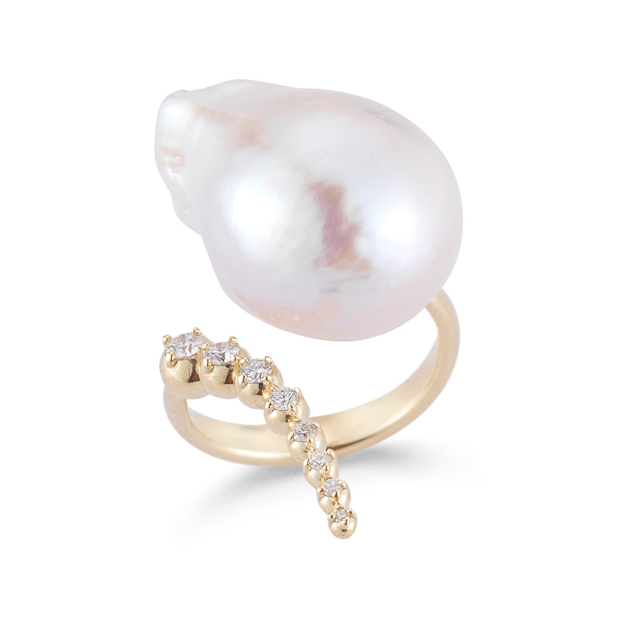 Graduated Curved Diamond and Pearl Ring - Jo Latham
