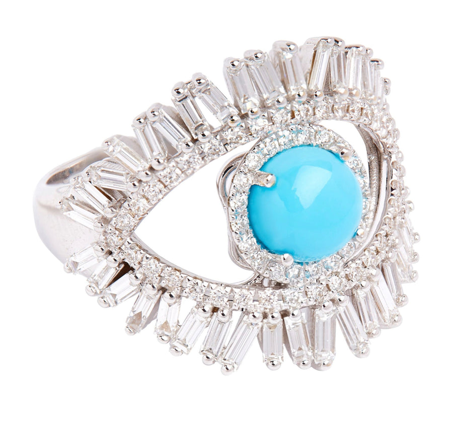 Evil Eye Baguette and Turquoise Ring