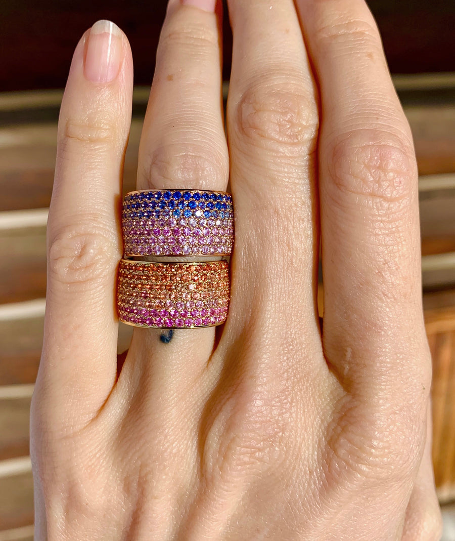 Borderless Ombre Orange and Pink Sapphire Cigar Band - Jo Latham
