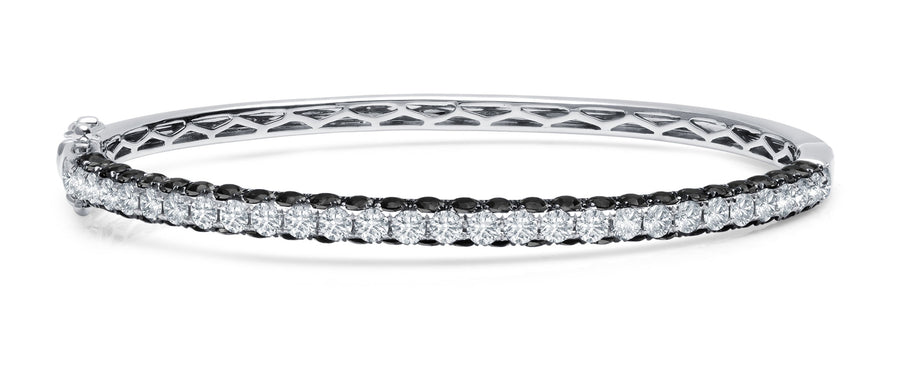 Three-sided Black and White Diamond Bangle - Jo Latham