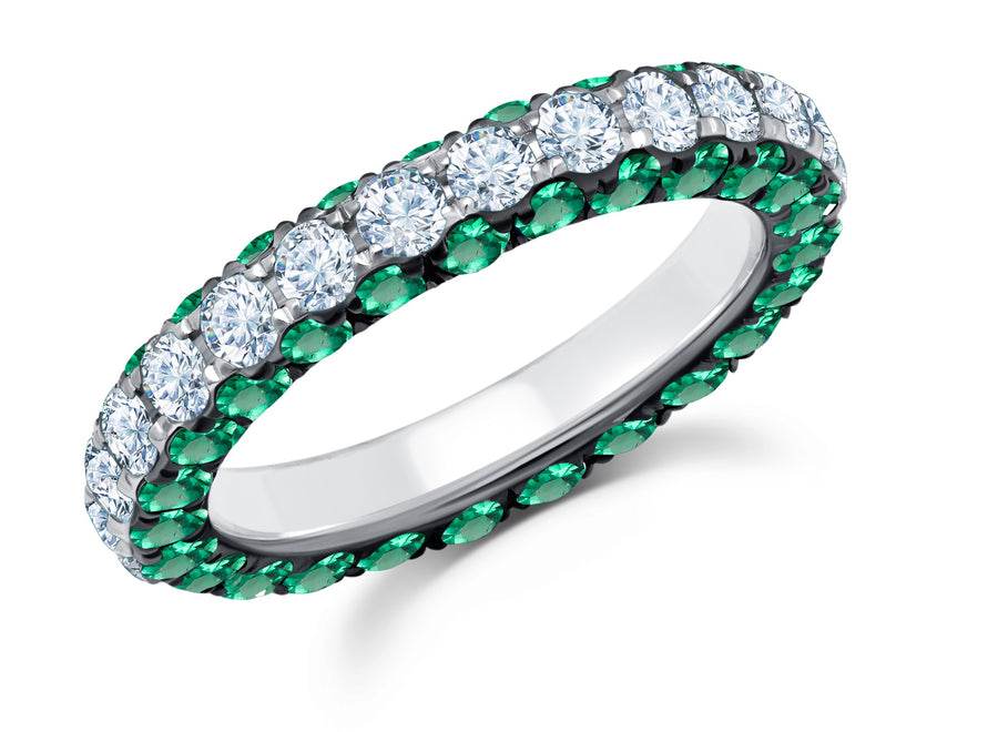 Three-sided Emerald and White Diamond Band - Jo Latham