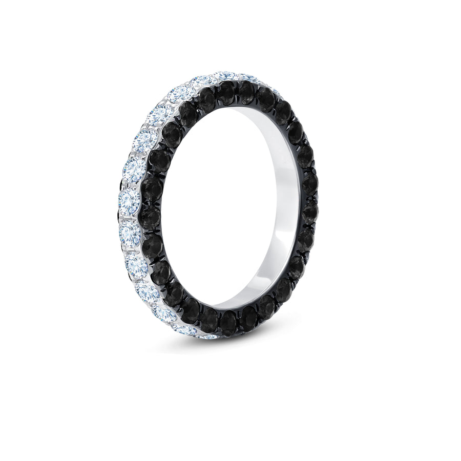 Three-sided Black and White Diamond Band - Jo Latham