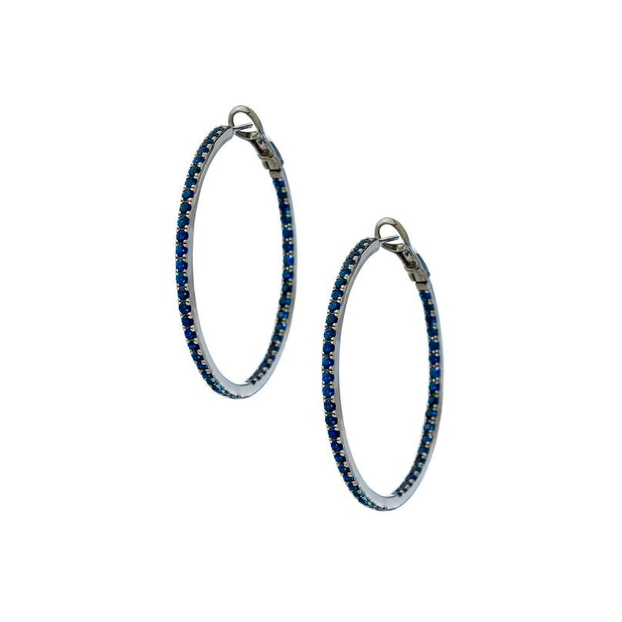 Mary Blue Sapphire Hoops - Jo Latham