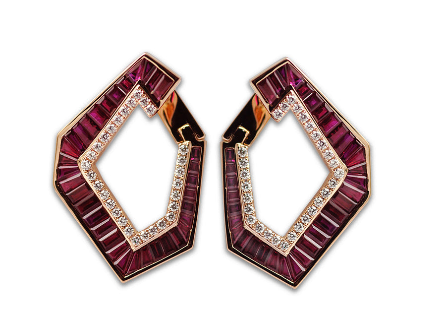 Origami Ruby and Diamond Earrings - Grande - Jo Latham