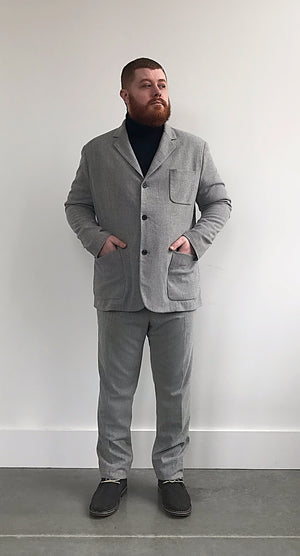 Brushed Stretch Wool Blazer - Gray Finn  Big and Tall Mens Luxury Clothing