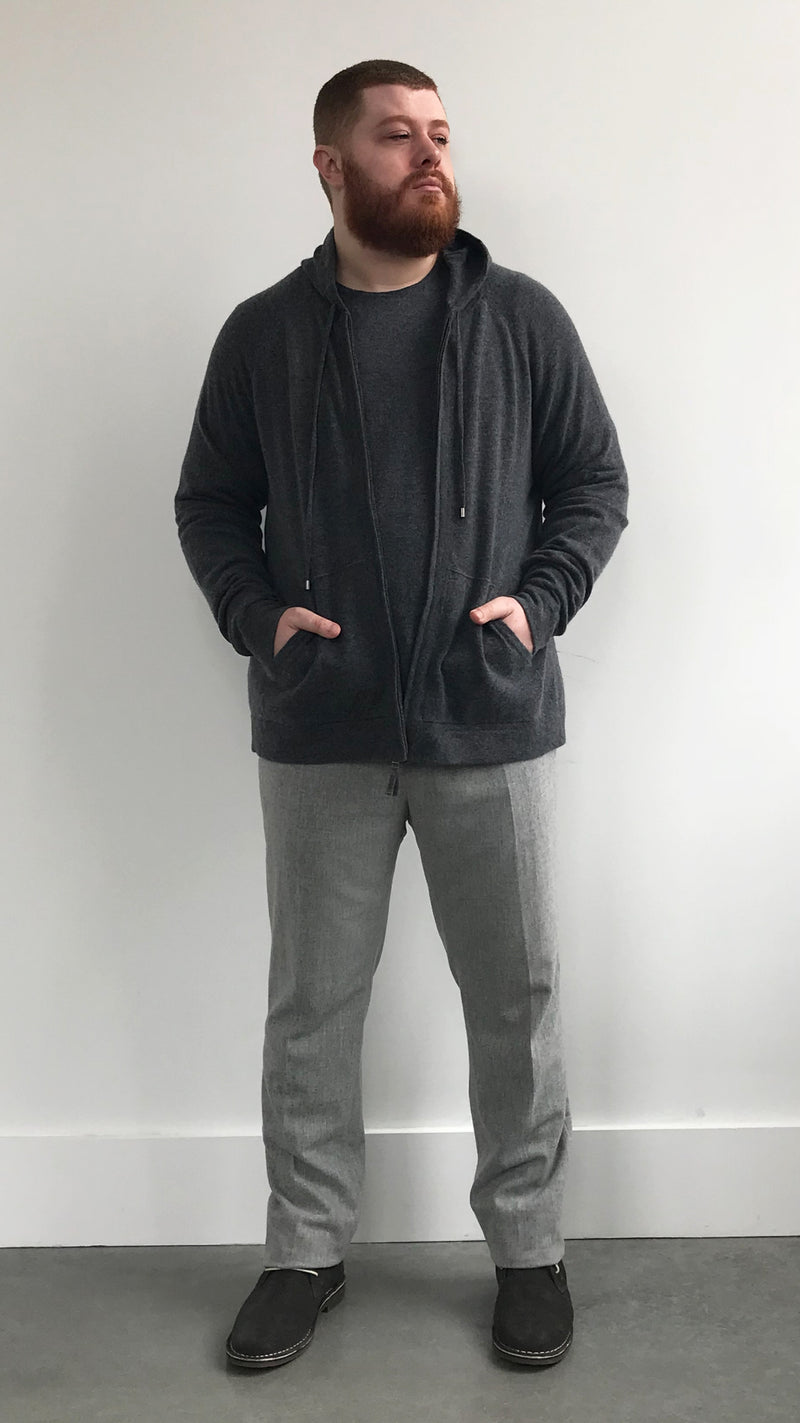 Charcoal Gray Cashmere Zip Hoodie - Gray Finn  Big and Tall Mens Luxury Clothing