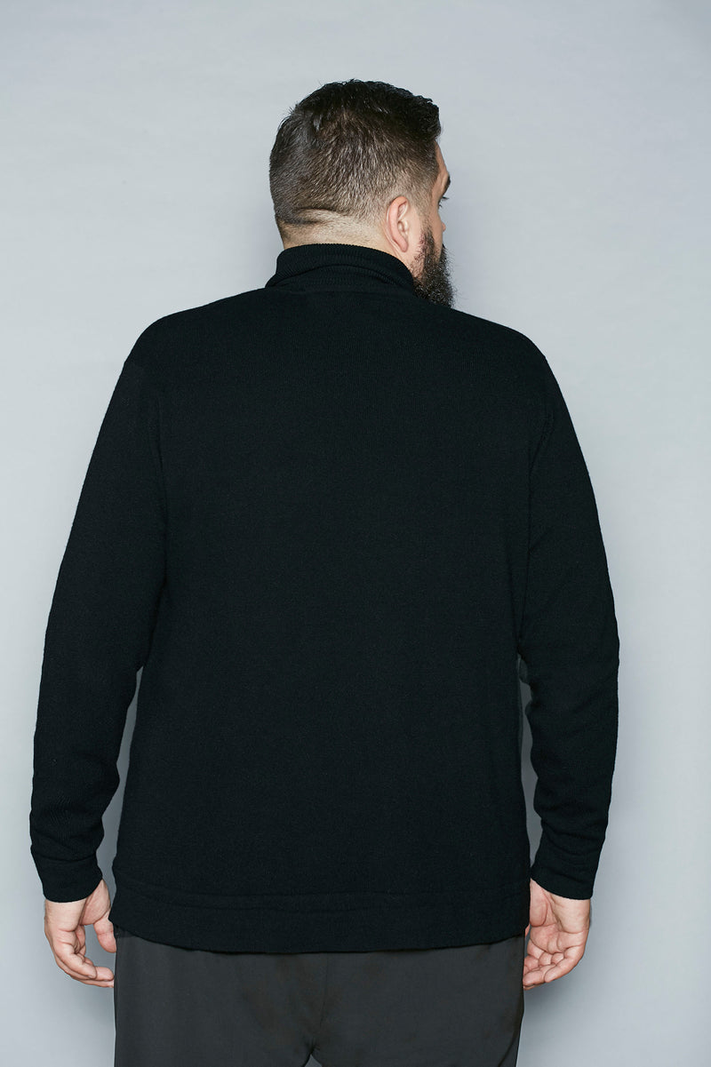 Black Ribbed Cashmere Turtleneck - Gray Finn  Big and Tall Mens Luxury Clothing