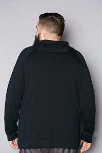 Black Cashmere Zip Hoodie - Gray Finn  Big and Tall Mens Luxury Clothing