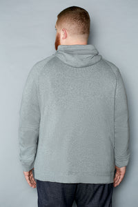 Pale Gray Cotton Zip Hoodie - Gray Finn  Big and Tall Mens Luxury Clothing