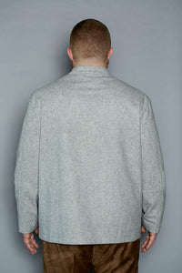 Felted Wool Bomber Jacket - Gray Finn  Big and Tall Mens Luxury Clothing