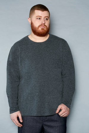 Charcoal Cashmere Crew Neck Sweater - Gray Finn  Big and Tall Mens Luxury Clothing
