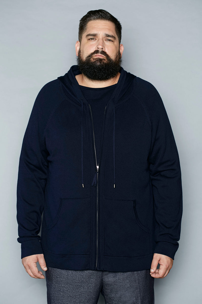 Midnight Blue Cotton Zip Hoodie - Gray Finn  Big and Tall Mens Luxury Clothing