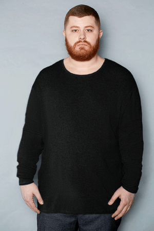 Black Cotton Ribbed Crew Neck Sweater - Gray Finn  Big and Tall Mens Luxury Clothing
