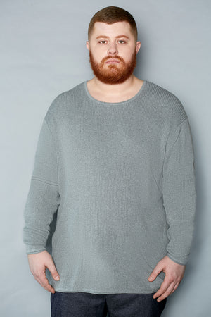 Pale Gray Cotton Ribbed Crew Neck Sweater - Gray Finn  Big and Tall Mens Luxury Clothing