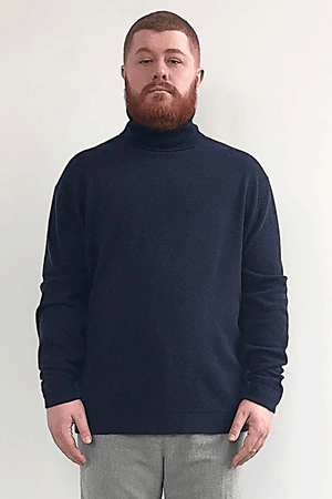 Heather Cashmere Midnight Blue Turtleneck - Gray Finn  Big and Tall Mens Luxury Clothing