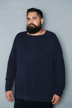 Midnight Blue Cotton Square Neck Sweater - Gray Finn  Big and Tall Mens Luxury Clothing