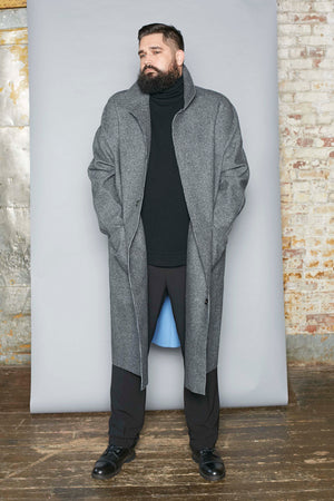 Herringbone Balmacaan Bonded Coat - Gray Finn  Big and Tall Mens Luxury Clothing