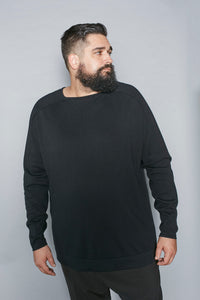 Black Cotton Square Neck Sweater - Gray Finn  Big and Tall Mens Luxury Clothing