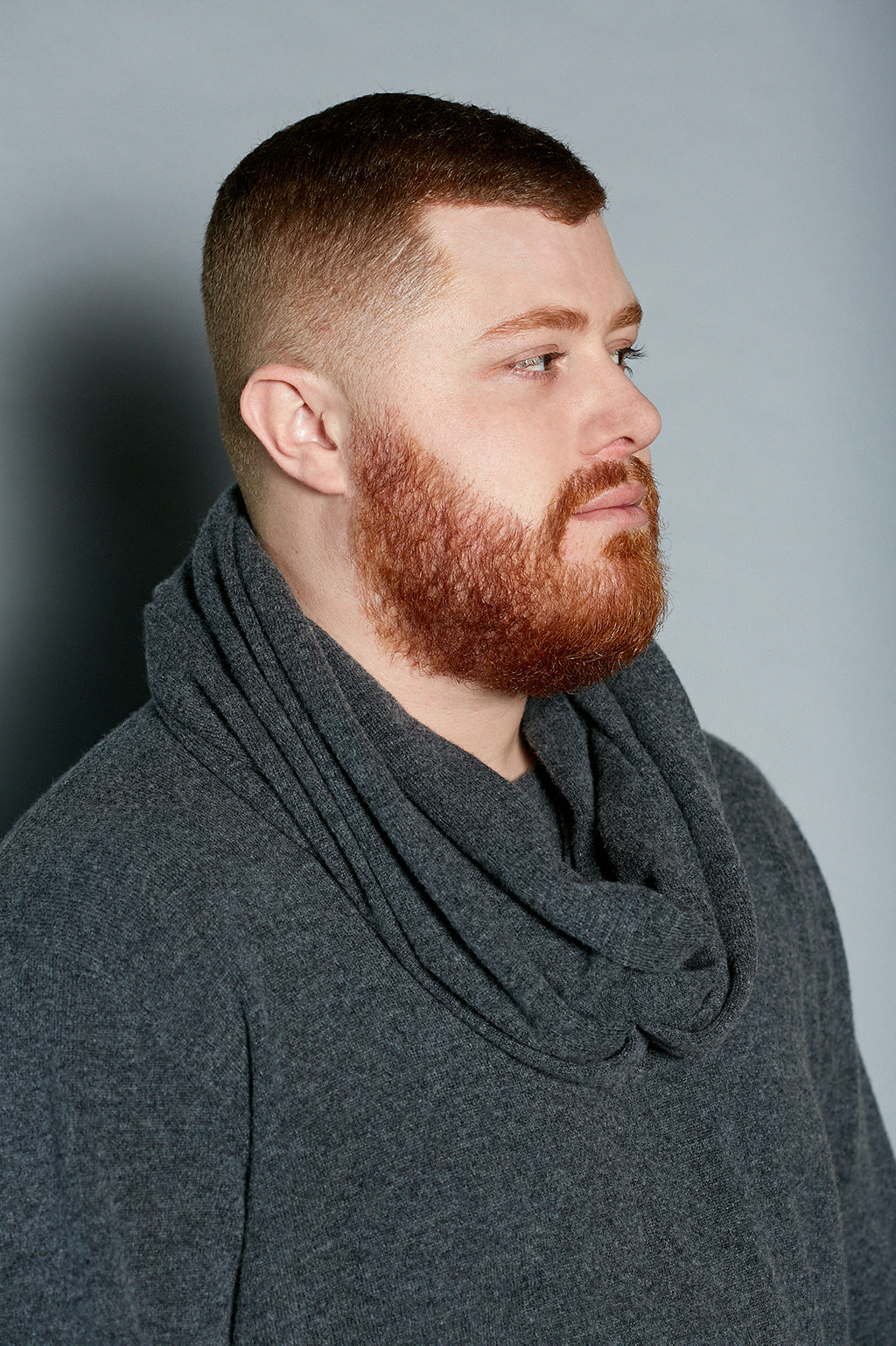 Charcoal Cashmere Infinity Scarf - Gray Finn  Big and Tall Mens Luxury Clothing
