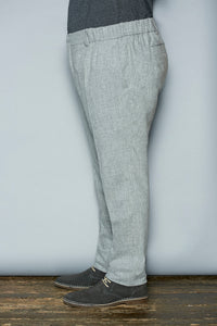Brushed Stretch Wool Pants - Gray Finn  Big and Tall Mens Luxury Clothing