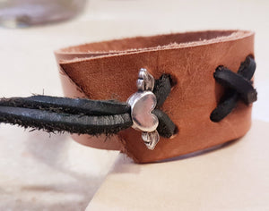 Leather Cuff with Flying Heart Charm