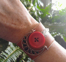 Leather cuff with button and bling dreamcatcher