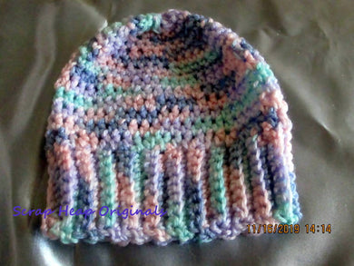 Newborn to 3 Months Multi Coloured Crocheted Beanie- Pompom Delete