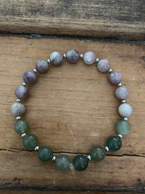 Aventurine and Purple crazy lace agate Mala bracelet