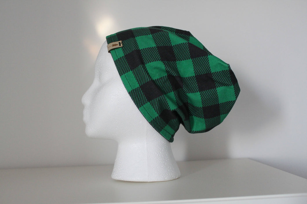 Green Buffalo Plaid and Black Slouchy Beanie -- Adult