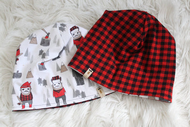 Reversible Buffalo Plaid and Lumberjack Slouchie Beanie Hat