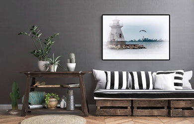 Digital color print files, Lake Huron wall art, Shoreline print, Home or Cottage decor Titled: 2 Lights and a Gull - Southampton Ontario Canada DIY printable art work for $9.85