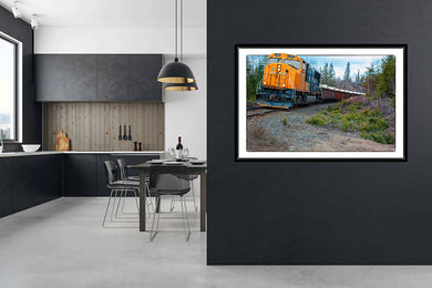 Digital colour wall art print, Freight Train print, titled Rolling Ore by Boston Creek Ontario Canada DIY printable art work for $9.85
